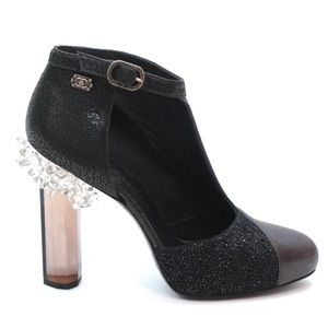 CHANEL Crystal Ice Tweed Leather Lucite Bootie